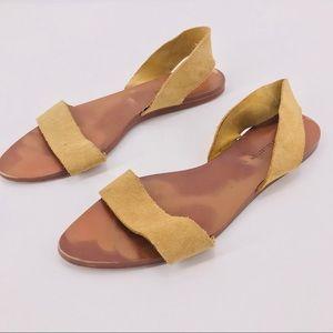 Suede Strappy Flats Slingback Zara Sz 38